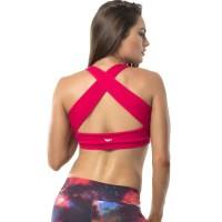 Pink Sun Crossed Womens Crop Top - Cherry Pink