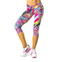 Pink Sun Superhero Light Womens Capris