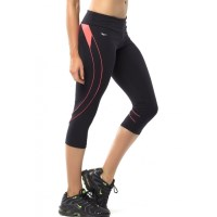 Pink Sun Flow Womens Capris - Black/Neon Orange