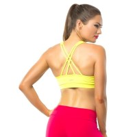 Pink Sun Energy Womens Crop Top - Lime Yellow