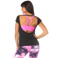 Pink Sun Open Back Womens Tee - Black